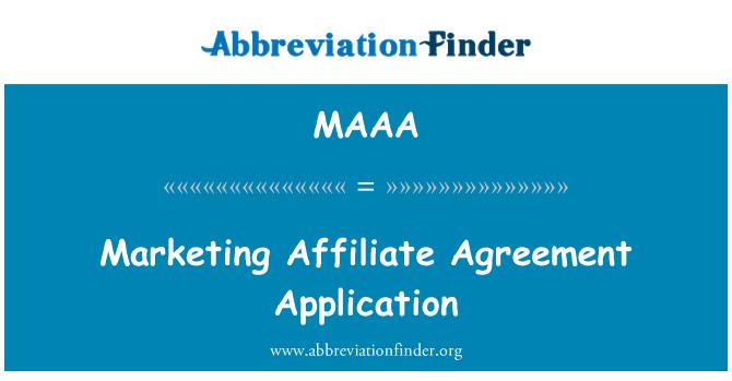 MAAA: Pemasaran Affiliate perjanjian permohonan