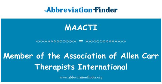 MAACTI: Miembro de la Asociación Internacional de terapeutas de Allen Carr