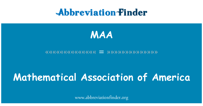 MAA: Mathematical Association of America