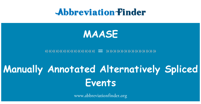 MAASE: Manually Annotated Alternatively Spliced Events