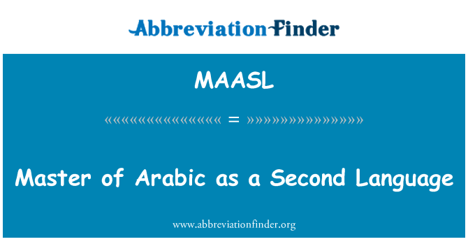 MAASL: Master of Arabic as a Second Language