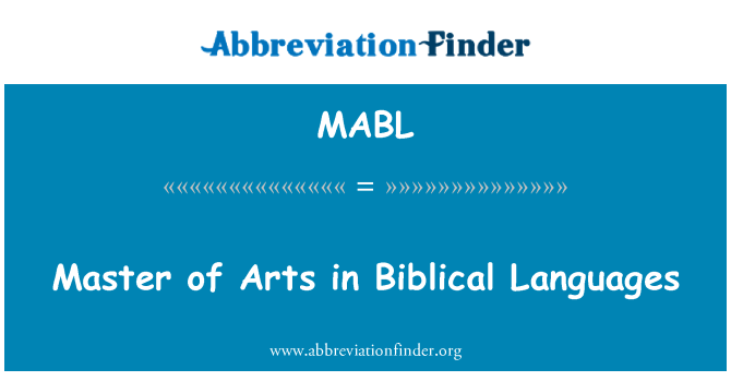 MABL: Master of Arts İncille dilde
