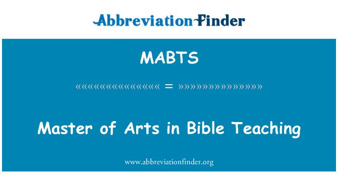 MABTS: Master of Arts İncil öğretim