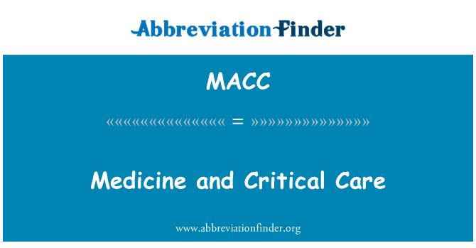 MACC: Tıp ve yoğun bakım