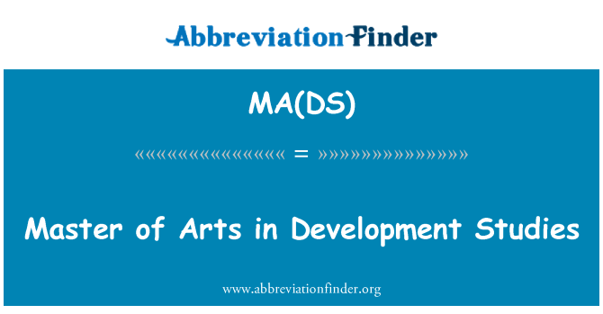 MA(DS): Master of Arts in Development Studies