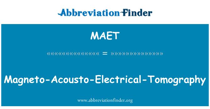 MAET: Magneto-Acousto-Electrical-Tomography