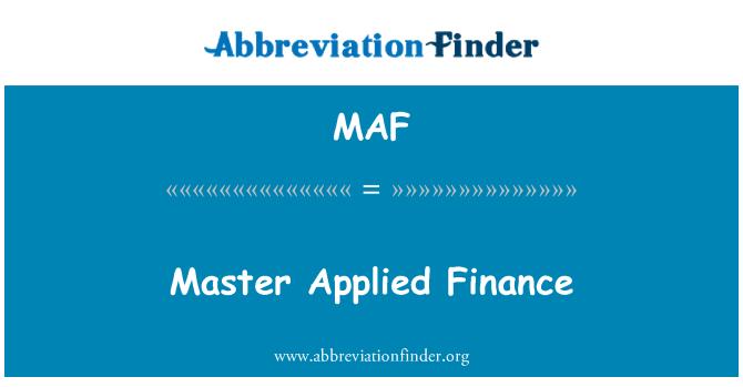 MAF: Master Applied Finance