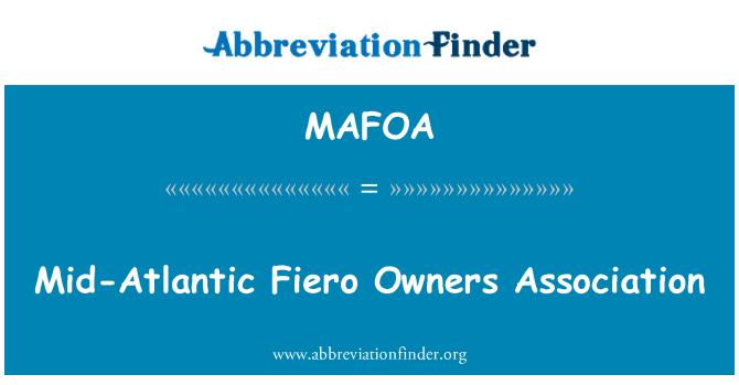 MAFOA: Mid-Atlantic Fiero Owners Association