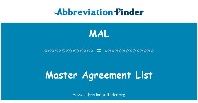 MAL: Master Agreement List