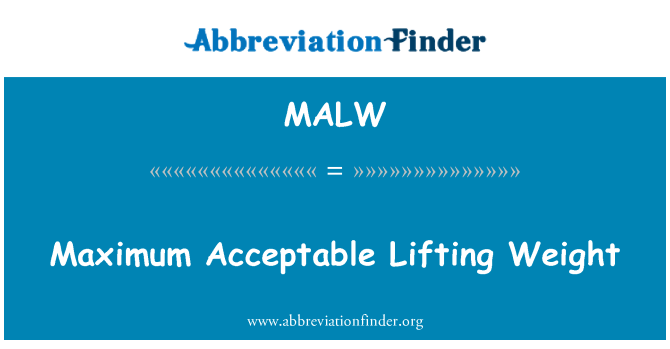 MALW: Maximum Acceptable Lifting Weight