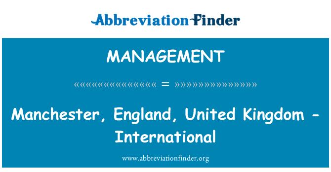MANAGEMENT: Manchester, İngiltere, Amerika Birleşik Devletleri - uluslararası