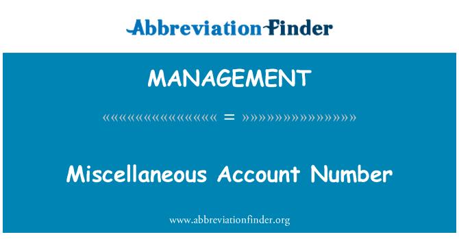 MANAGEMENT: Çeşitli hesap numarası
