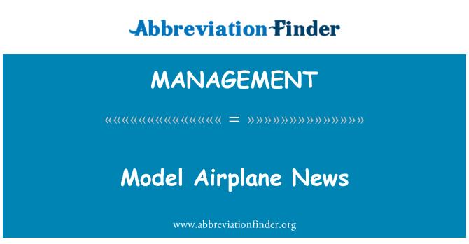 MANAGEMENT: Model uçak haberleri