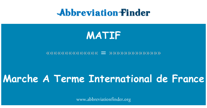 MATIF: Marche A Terme International de France