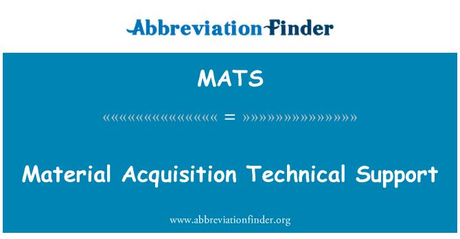 MATS: Adquisición de material técnico