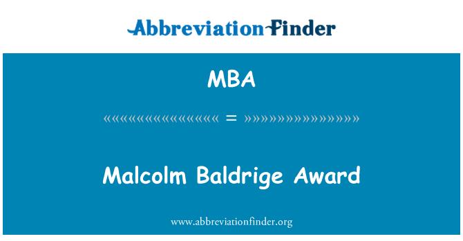 MBA: Malcolm Baldrige Award
