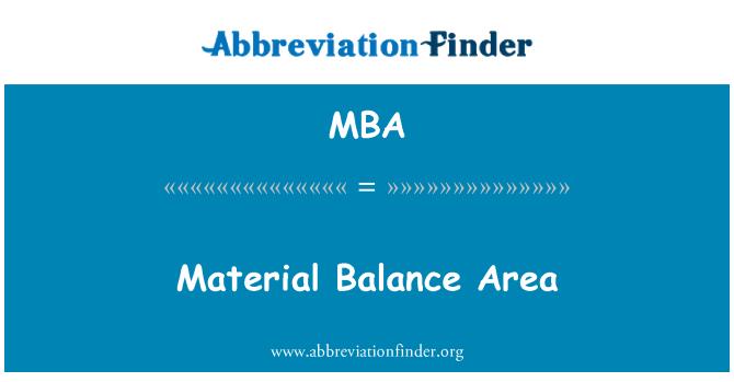 MBA: Material Balance Area