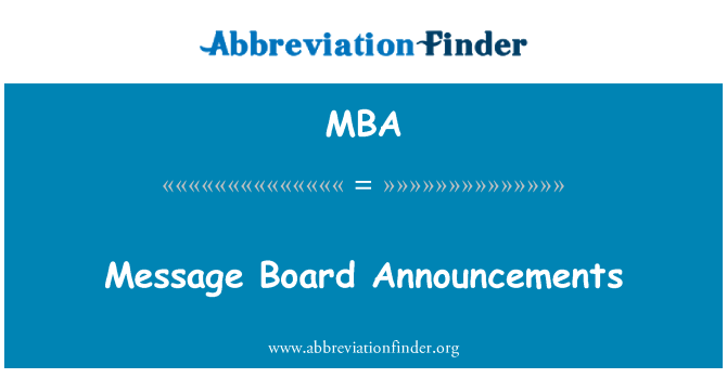 MBA: Message Board Announcements