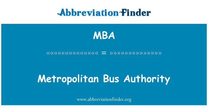 MBA: Metropolitan Bus Authority