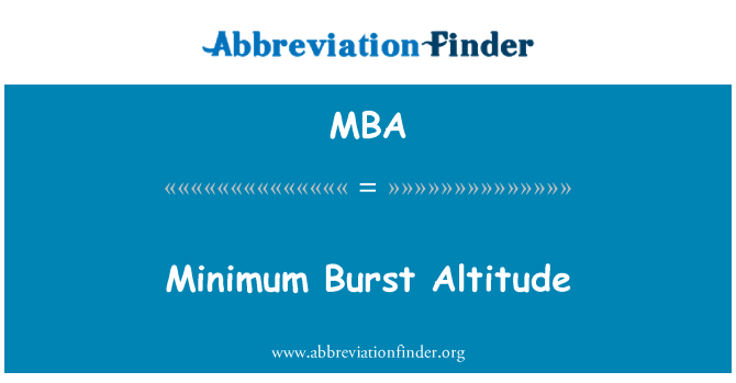 MBA: Minimum Burst Altitude