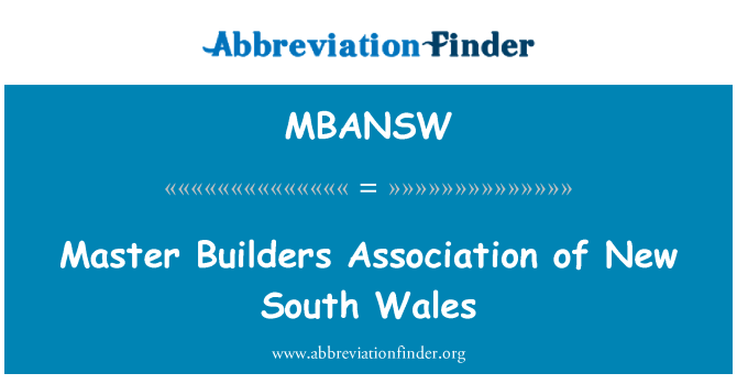 MBANSW: Master Builders Association of New South Wales