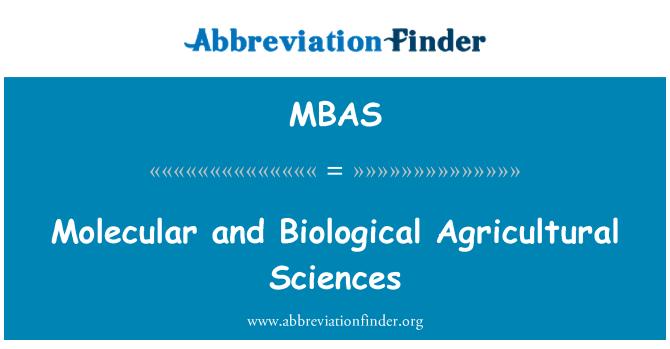 MBAS: Ciencias agrícolas biológicas y moleculares