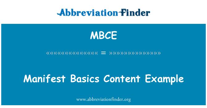 MBCE: Manifest Basics Content Example