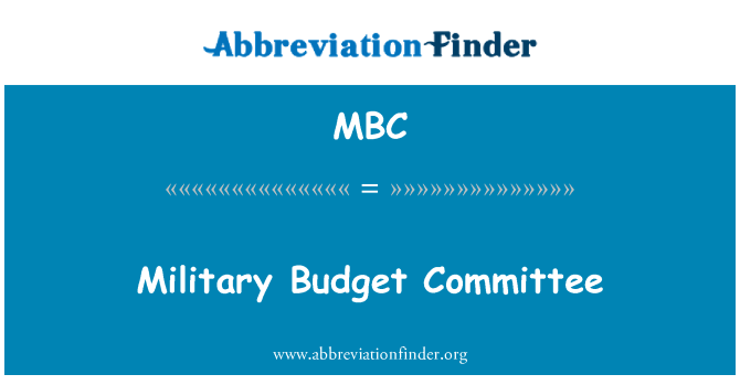 MBC: Military Budget Committee