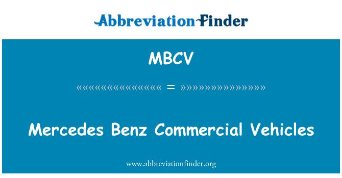 MBCV: Mercedes Benz Commercial Vehicles