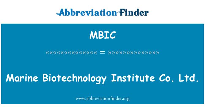 MBIC: Marine Biotechnology Institute Co. Ltd.