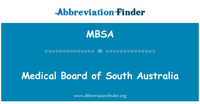 MBSA: Medical Board of South Australia