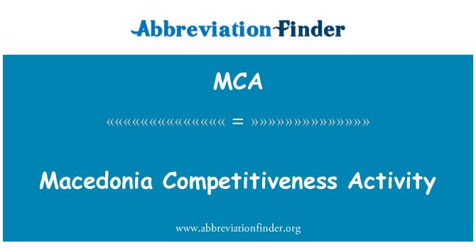MCA: Macedonia Competitiveness Activity