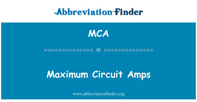 MCA: Maximum Circuit Amps