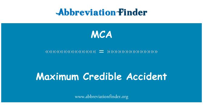 MCA: Maximum Credible Accident