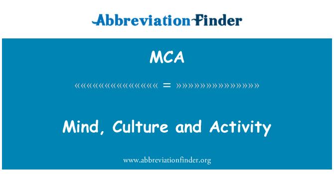 MCA: Mind, Culture and Activity