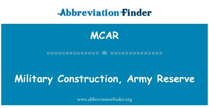 MCAR: Construcción militar, reserva del ejército