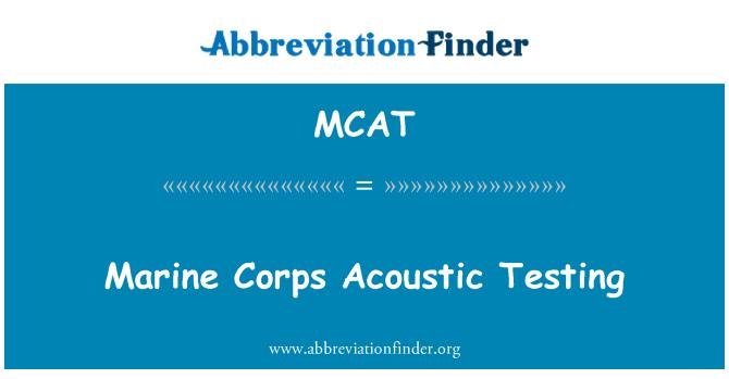 MCAT: 海軍陸戰隊聲波測試
