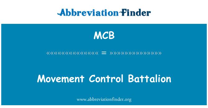 MCB: Movement Control Battalion