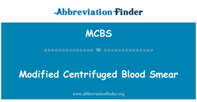 MCBS: संशोधित Centrifuged रक्त स्मीयर
