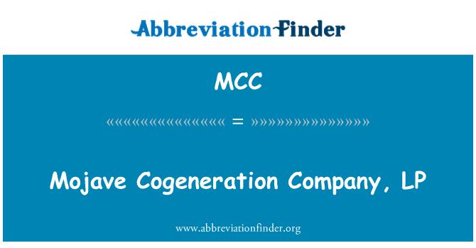 MCC: Mojave Cogeneration Company, LP