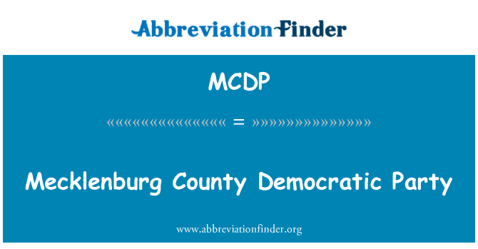 MCDP: Mecklenburg County partido democrático
