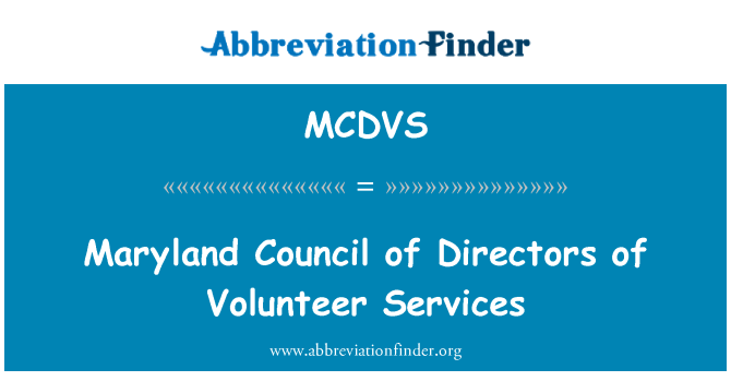 MCDVS: Maryland Council of Directors of Volunteer Services