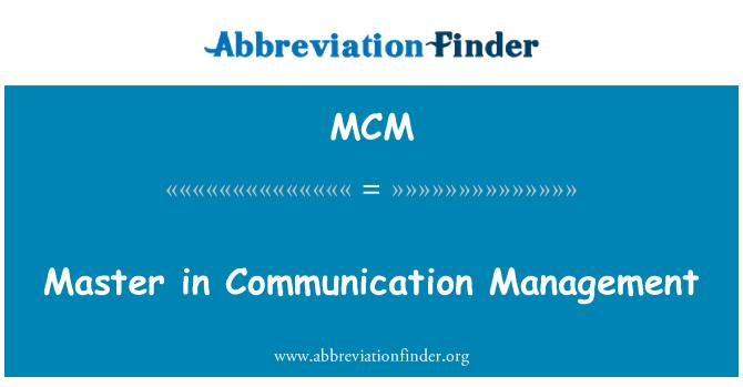 MCM: Master in Communication Management
