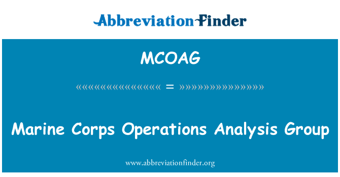 MCOAG: Marine Corps Operations Analysis Group