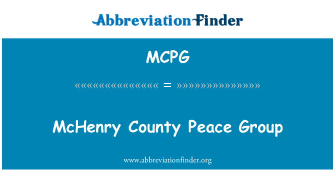 MCPG: McHenry County Peace Group