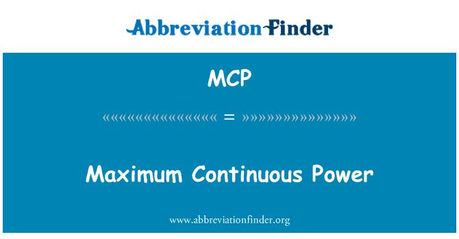 MCP: Maximum Continuous Power