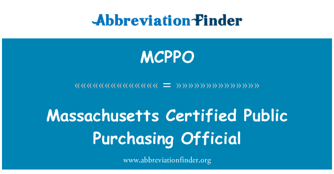 MCPPO: Massachusetts certificado a oficial compra pública