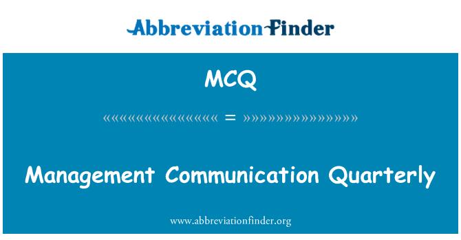 MCQ: Management Communication Quarterly