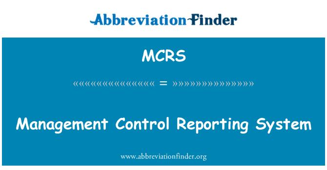 MCRS: Sistem laporan kawalan pengurusan