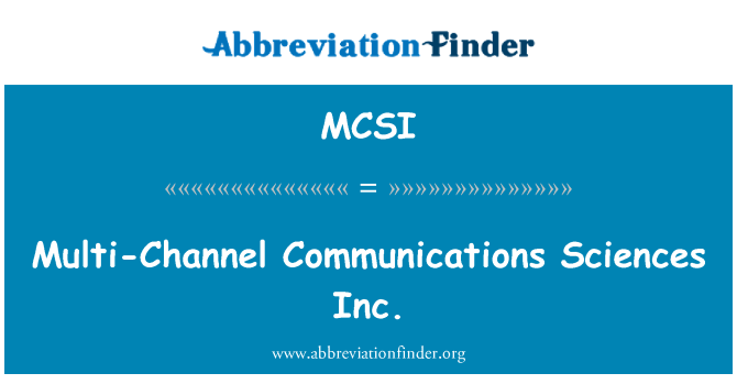 MCSI: Multi-channel side teadused Inc
